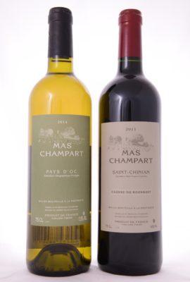 Blandlåda med ett rött och ett vitt vin, eleganta kompositioner signerade producenten Mas Champart.